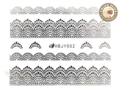 HBJY002 Silver Lace Nail Sticker Nail Art - 1 pc