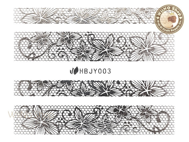 HBJY003 Silver Lace Nail Sticker Nail Art - 1 pc