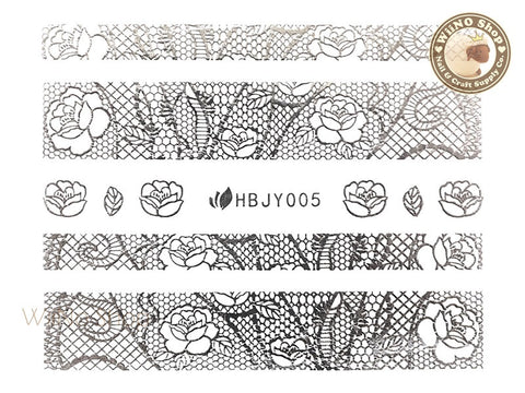 HBJY005 Silver Lace Nail Sticker Nail Art - 1 pc
