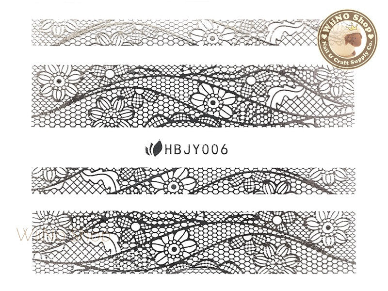 HBJY006 Silver Lace Nail Sticker Nail Art - 1 pc
