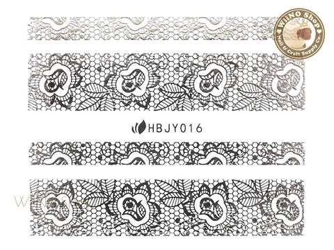 HBJY016 Silver Lace Nail Sticker Nail Art - 1 pc