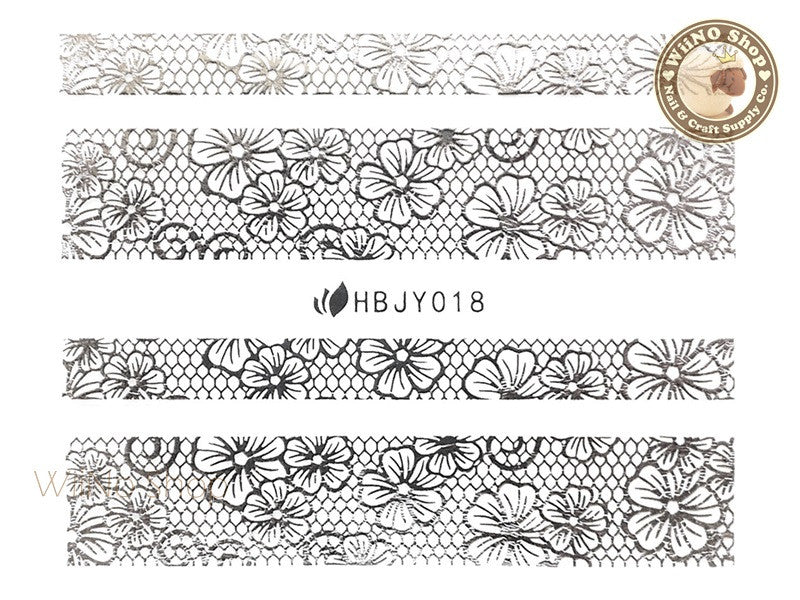 HBJY018 Silver Lace Nail Sticker Nail Art - 1 pc