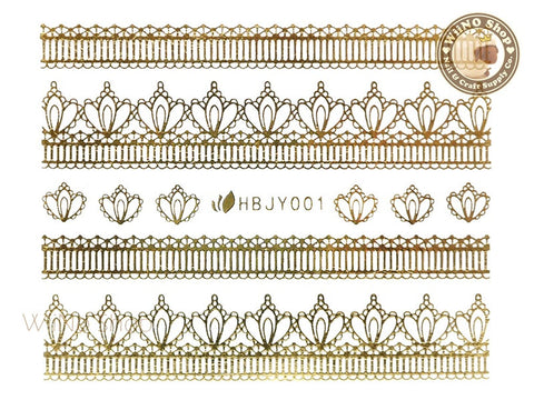 HBJY001 Gold Lace Nail Sticker Nail Art - 1 pc