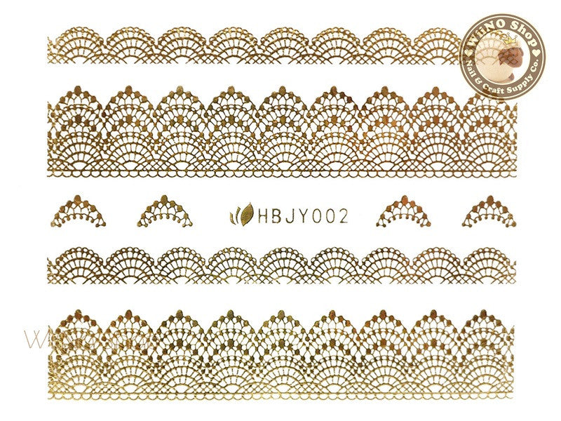 HBJY002 Gold Lace Nail Sticker Nail Art - 1 pc
