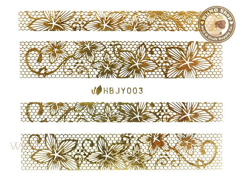 HBJY003 Gold Lace Nail Sticker Nail Art - 1 pc