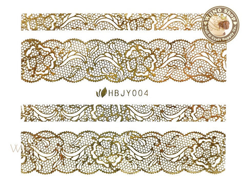 HBJY004 Gold Lace Nail Sticker Nail Art - 1 pc