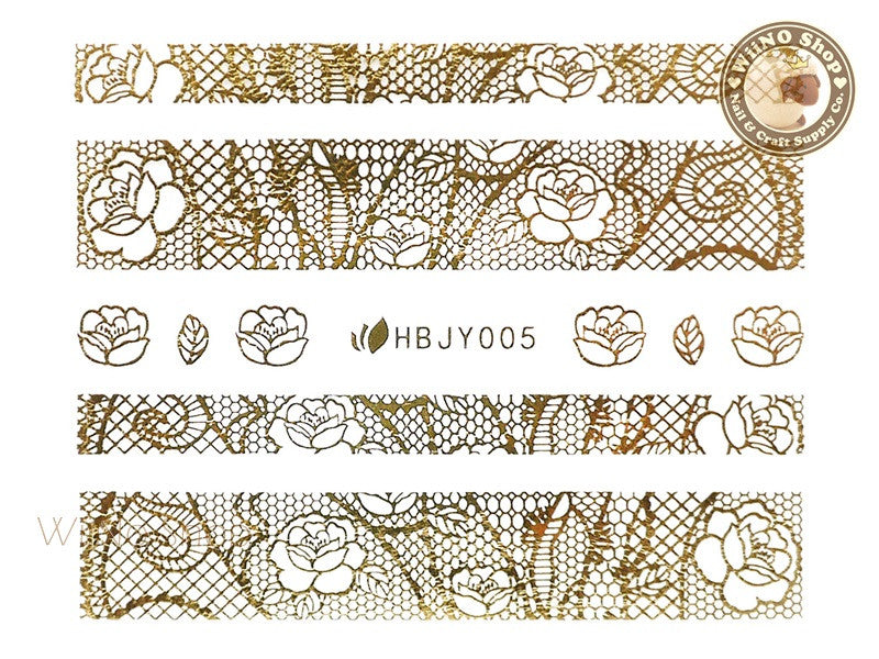 HBJY005 Gold Lace Nail Sticker Nail Art - 1 pc