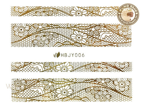 HBJY006 Gold Lace Nail Sticker Nail Art - 1 pc