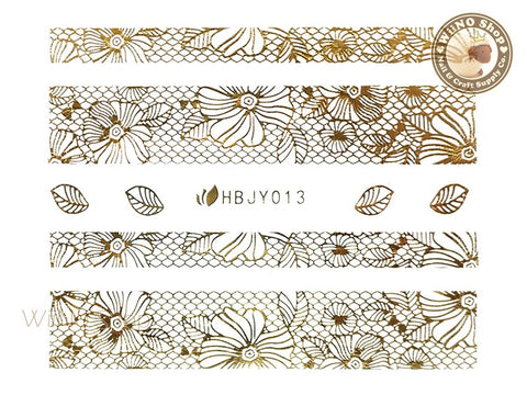 HBJY013 Gold Lace Nail Sticker Nail Art - 1 pc