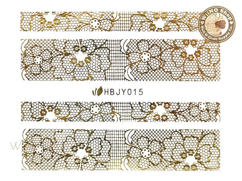 HBJY015 Gold Lace Nail Sticker Nail Art - 1 pc