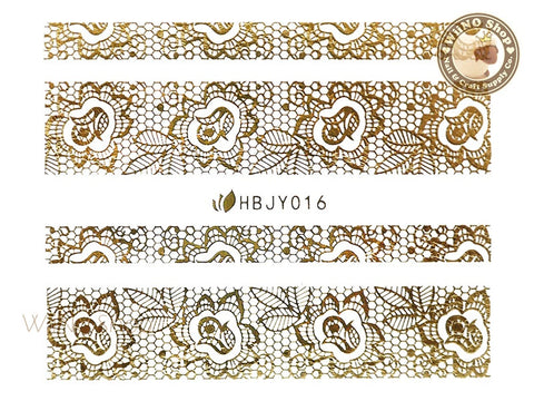 HBJY016 Gold Lace Nail Sticker Nail Art - 1 pc