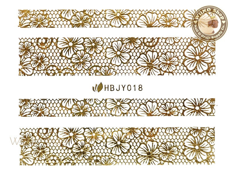 HBJY018 Gold Lace Nail Sticker Nail Art - 1 pc