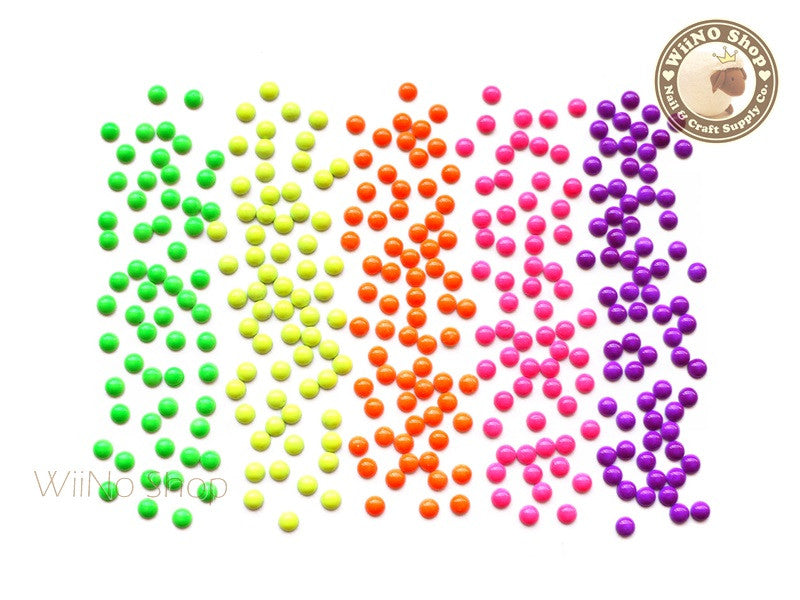 3mm Neon Half Round Metal Studs - 50 pcs