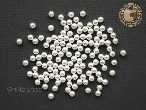 4mm Ivory Pearl Beads Nail Art Decoration (No Hole) - 20 pcs