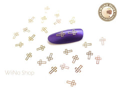 Gold Cross Ultra Thin Metal Decoration Nail Art - 25 pcs