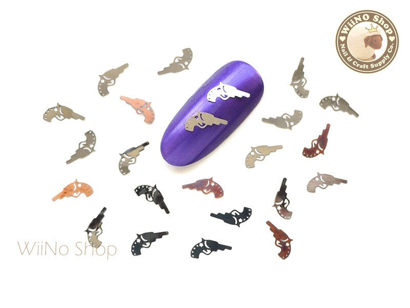 Silver Pistol Gun Ultra Thin Nail Art Metal Decoration - 25 pcs