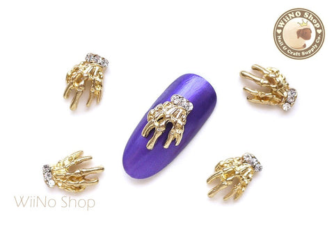 Gold Skeleton Hand Nail Metal Charm - 2 pcs
