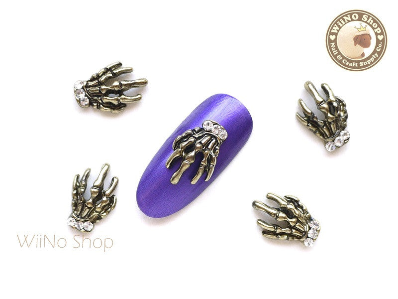 Antique Gold Skeleton Hand Nail Metal Charm - 2 pcs