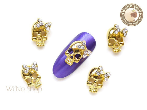 Gold Skull with Crystal Bow Nail Metal Charm - 2 pcs