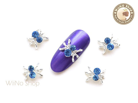 Blue Crystal Silver Spider Nail Metal Charm - 2 pcs