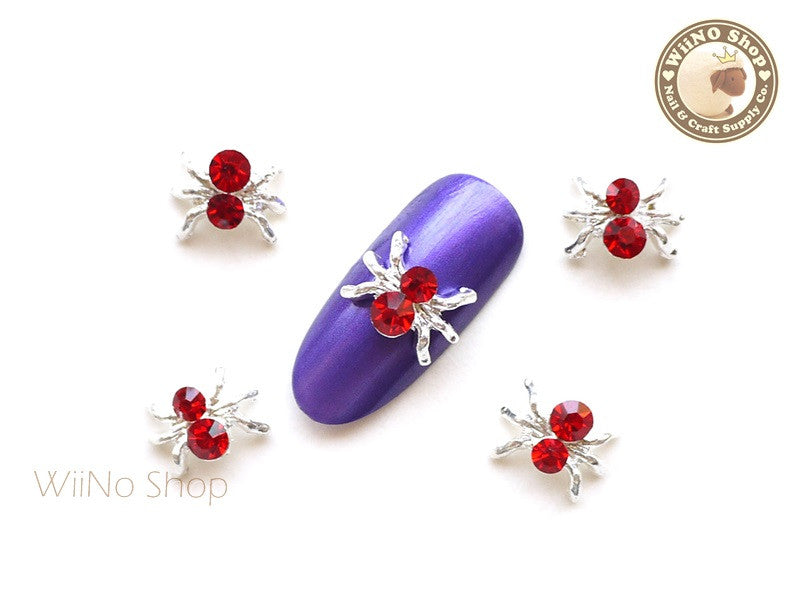 Red Crystal Silver Spider Nail Metal Charm - 2 pcs