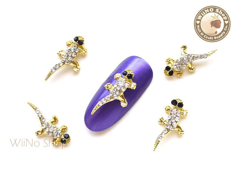 Gold Lizard Nail Charm Nail Art - 2 pcs