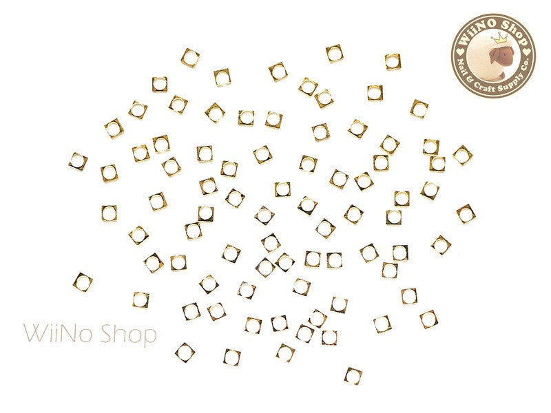 2mm Gold Square Circle Frame Decoration - 25 pcs