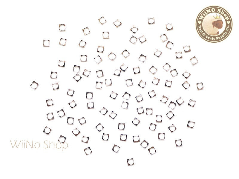 2mm Silver Square Circle Frame Decoration - 25 pcs