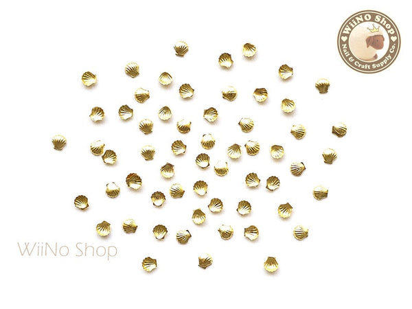2mm Gold Mini Seashell Nail Art Metal Studs - 10 pcs
