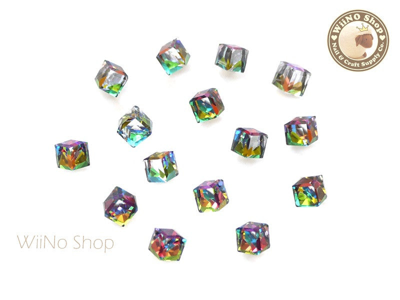4mm Rainbow 3D Square Cube Crystal Rhinestone - 5 pcs