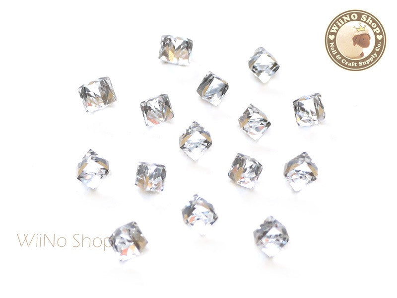 4mm Clear 3D Square Cube Crystal Rhinestone - 5 pcs