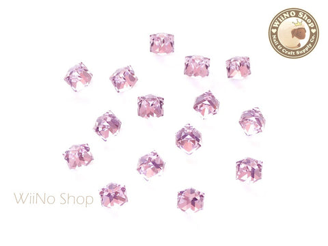 4mm Pink 3D Square Cube Crystal Rhinestone - 5 pcs