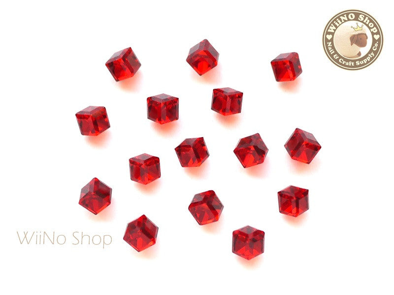 4mm Red 3D Square Cube Crystal Rhinestone - 5 pcs