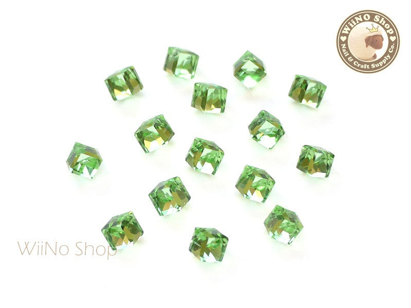 4mm Green 3D Square Cube Crystal Rhinestone - 5 pcs