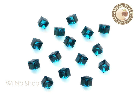 4mm Dark Turquoise 3D Square Cube Crystal Rhinestone - 5 pcs