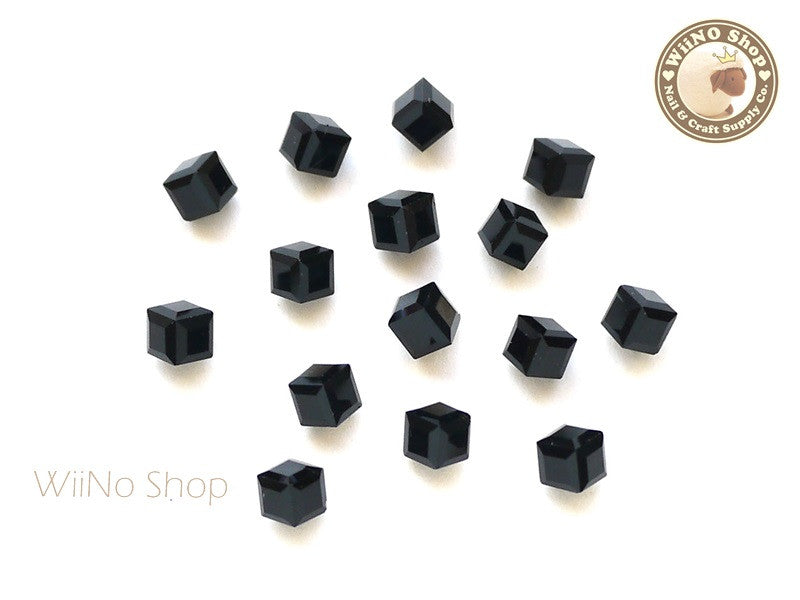 4mm Black 3D Square Cube Crystal Rhinestone - 5 pcs