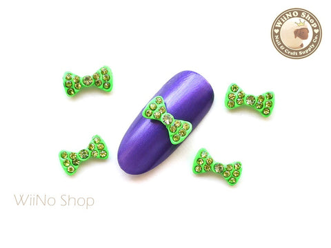 Neon Green Crystal Bow Nail Metal Charm Nail Art - 2 pcs