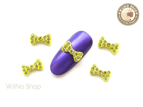 Neon Yellow Crystal Bow Nail Metal Charm Nail Art - 2 pcs