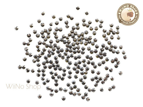 ss8 Gunmetal Chrome Crystal Round Flatback - 100 pcs