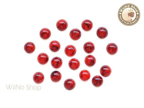 5mm Half Round Red Turquoise Flat Back Acrylic Cabochon Nail Art - 15 pcs