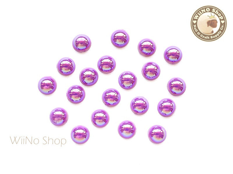 5mm AB Metallic Orchid Purple Half Round Flat Back Acrylic Cabochon Nail Art - 15 pcs