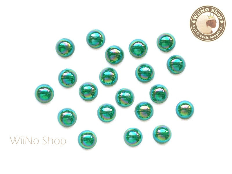 5mm AB Metallic Green Half Round Flat Back Acrylic Cabochon Nail Art - 15 pcs