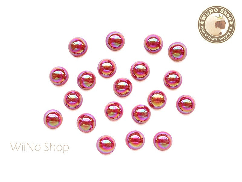 5mm AB Metallic Red Half Round Flat Back Acrylic Cabochon Nail Art - 15 pcs