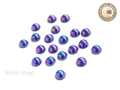 5mm AB Metallic Purple Half Round Flat Back Acrylic Cabochon Nail Art - 15 pcs