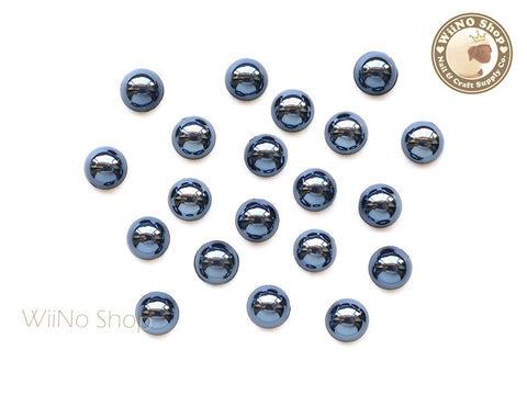 6mm Half Round Black Metallic Flat Back Acrylic Cabochon Nail Art - 15 pcs