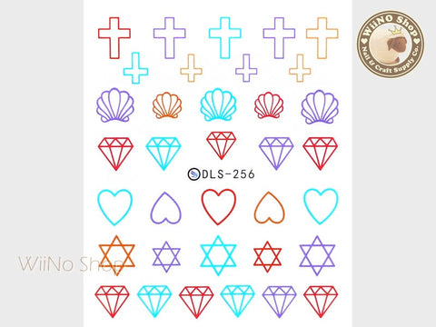 Colorful Seashell Cross Diamond Water Slide Nail Art Decals - 1pc (DLS-256)