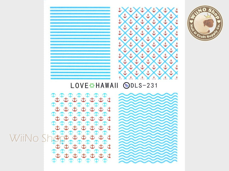 Anchor Pattern Water Slide Nail Art Decals - 1pc (DLS-231)