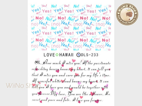 Lovely Yes No Text Pattern Water Slide Nail Art Decals - 1pc (DLS-233)