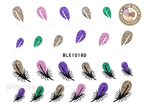 Glitter Feather Adhesive Nail Sticker Nail Art - 1 pc (BLE1018D)