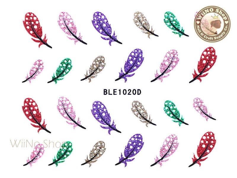 Glitter Feather Adhesive Nail Sticker Nail Art - 1 pc (BLE1020D)